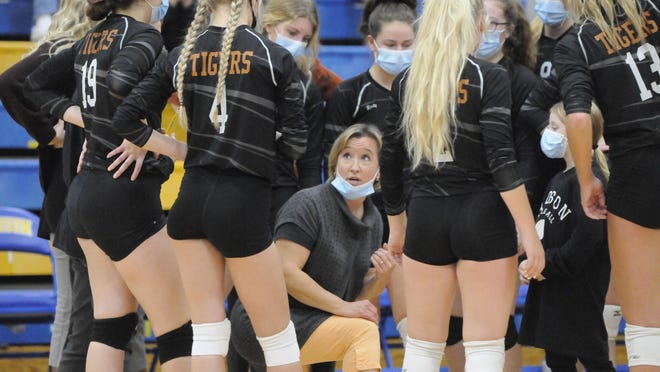 Hudson head coach Shelly Hoard, middle, talks to her team during a timeout in Tuesday's regional semifinal match against Monroe St. Mary Catholic Central at Madison.