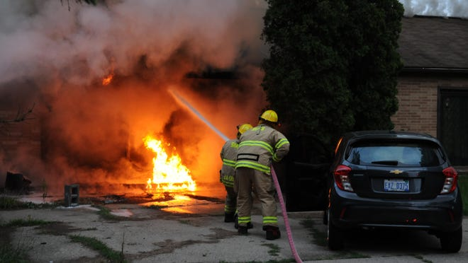 South Haven Area Emergency Services battled a fire late Monday in the 100 block of Blue Star Highway.