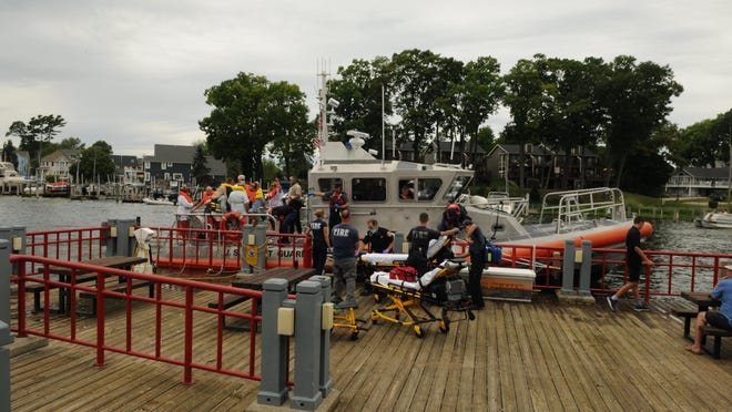 Ten passengers on a 32-foot boat were transported to an area hospital Saturday, Aug. 1, after showing symptoms of carbon monoxide poisoning aboard their vessel.