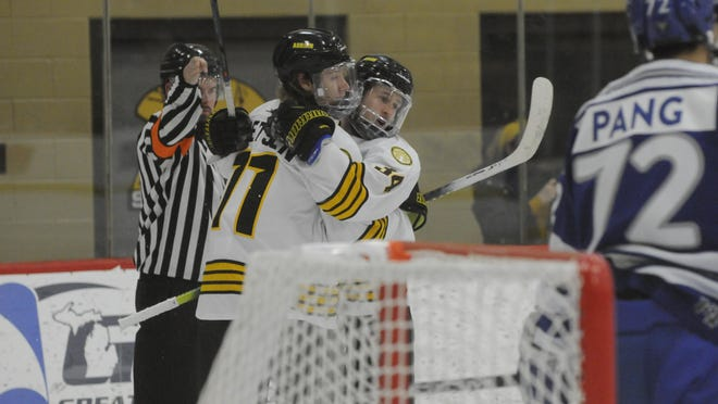 Adrian College's Trevor Coykendall (34) and Grant Baetsen (11) celebrate after Coykendall's first period goal during the Bulldogs' 3-2 victory over Concordia-Wisconsin on Tuesday night at Arrington Ice Arena.