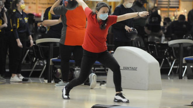Clinton's Paige Shankland bowls during Friday afternoon's Lenawee County Athletic Association jamboree at Ten Pin Alley in Tecumseh.