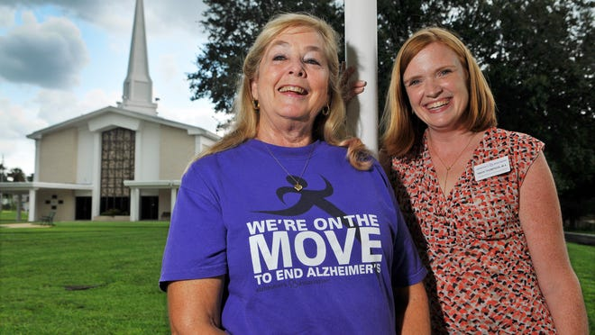 Sharon Ramsey, Alzheimer's support group facilitator, and Tanya Thompson, assistant director of community outreach for the Rockledge Alzheimer's Association, meet at First United Methodist Church in Cocoa to discuss upcoming events.