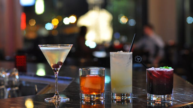Americana's spring cocktails, from left to right: Mary Pickford, Rye Fashioned, French Fizz, Blueberry Cobbler