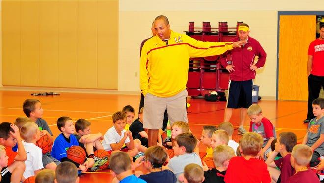 L-C boys varsity coach John Hampton directing young Spartans.