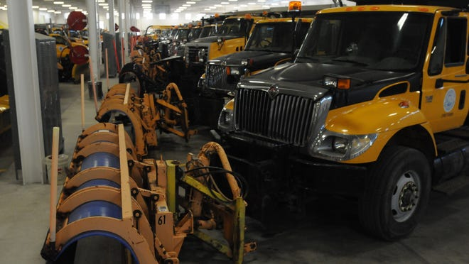 The new garage is more efficient that the old garage. Trucks and equipment have space to park and be worked on as the need arises. Kevin Uhen give a tour of the new city garage to members of the Oshkosh Common Council March 10, 2015 just before the city council meeting.