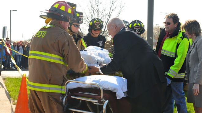 "The Port Clinton Fire Department, shown here responding to a ""mock"" crash in a 2015 demonstration, will operate the new EMS services as part of the fire department starting April 1."
