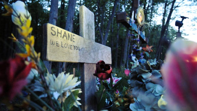 A memorial has been set up by the family and friends of Shane Smith, who was killed last year, on Rout 55 photographed Monday, May, 10, 2010, in Pawling.