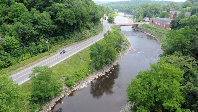Route 213 and the Rondout Creek are seen from the Rosendale trestle bridge.