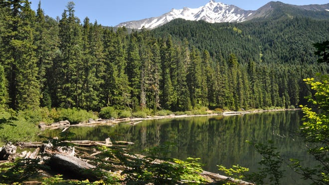 Pamelia Lake and Mount Jefferson, seen here, are closed to hikers and backpackers due to the Bingham Complex wildfire.