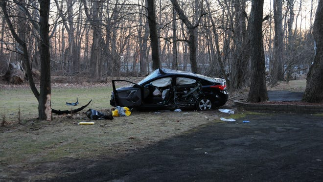 A 20-year-old Stony Point man is in critical condition following a serious car accident that sent him and his passenger to the hospital after their car smashed into trees near the intersection of Scotland Road and Scotland Hill Road early Wednesday, Ramapo police said.