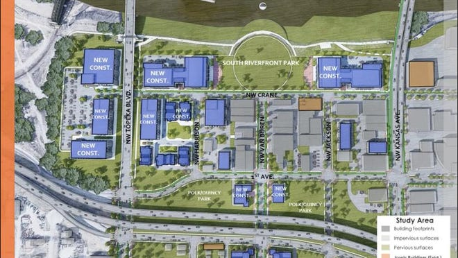 This rendering shows how land might be developed just south of the Kansas River to create an innovation campus that would be used by startup companies and corporate innovation partners in the animal health and agricultural technology fields.
