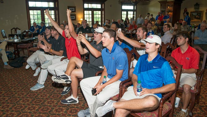 Members of Louisiana Tech's golf team react to their selection Thursday into the NCAA Regionals. The 12-seeded Bulldogs will play in Arizona.