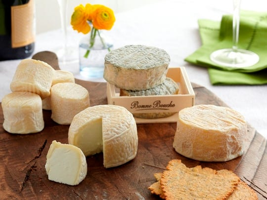 An array of goat cheese, both fresh and aged from Vermont Creamery. The Bonne Bouche is the aged cheese.