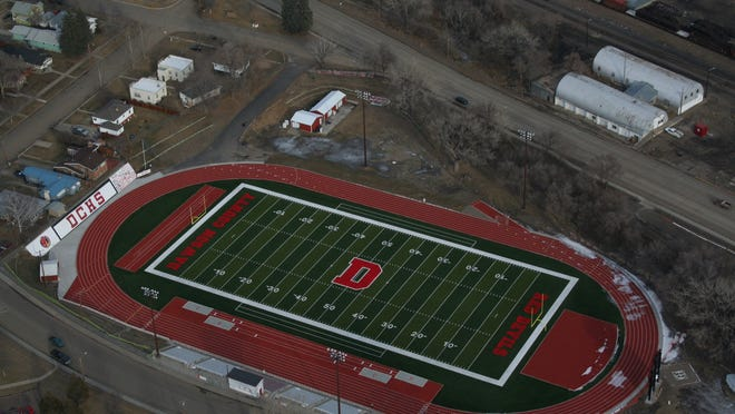 Combo cut here: The Oakland Athletic Complex at Perham Field in Glendive features the only post-tension track in Montana and an artificial turf football field.
