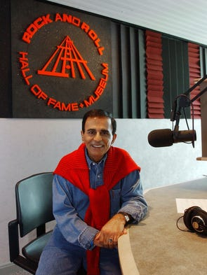 This July 29, 2003, file photo shows radio personality Casey Kasem at the Rock and Roll Hall of Fame in Cleveland, Ohio. Kasem, the smooth-voiced radio broadcaster who became the king of the top 40 countdown, died Sunday, June 15, 2014, according to Danny Deraney, publicist for Kasem's daughter, Kerri. He was 82.