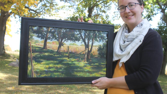 """Katharine Taylor, a Sturgis artist, has sold two pieces of art through """"The Great American Paint-In,"""" a nationwide pandemic art project. This work, """"Almost Harvest,"""" soon will be shipped to the new owner."""