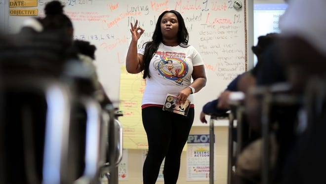 English teacher Raina Powell teaches a lesson on expository writing at Grandview Heights Middle which is one of the few SCS success stories from the past year. Grandview Heights, which was previously in the 0.2 percentile in the state, scored a Level 5 in growth (the highest level possible.)