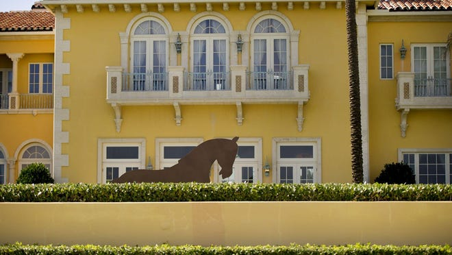 A mock-up of a horse sculpture has been on view at Steve and Andrea Wynn's estate at 1960 S. Ocean Blvd. in Palm Beach. Steve Wynn this week won town approval to erect a similar sculpture on his property as long as it was fully screened from the roadway.