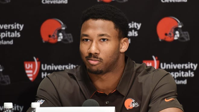 Cleveland Browns number one pick defensive lineman Myles Garrett talks to the media at the Cleveland Browns training facility.