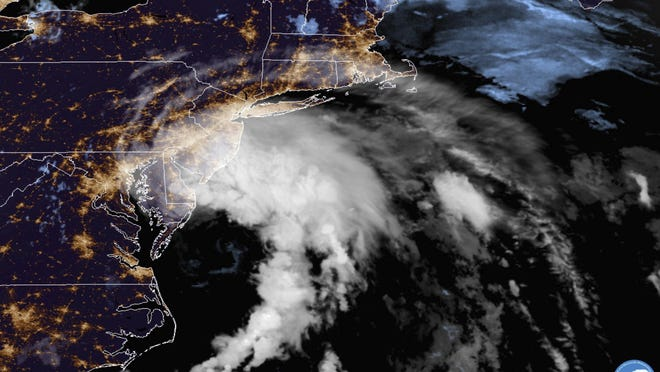 This GOES-16 satellite image taken at 5:30 a.m. Friday shows Tropical Storm Fay as it moves closer to land in the northeast of the United States.