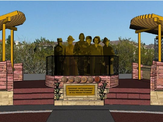 The Women Veterans Monument has been altered from this conceptual design, but the major elements of the monument remain the same.