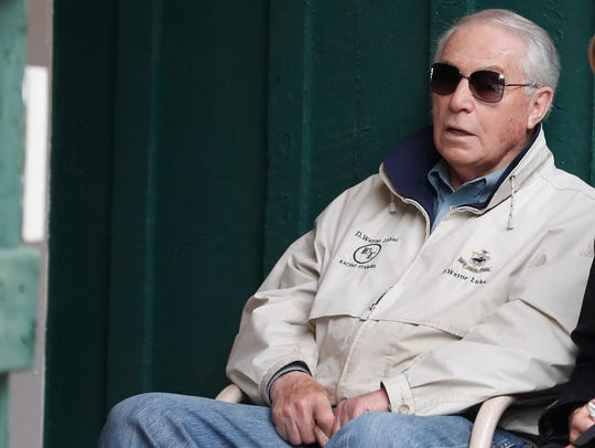 Bravazo trainer D. Wayne Lukas sits in the Preakness