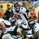 Denver Bronco Peyton Manning directs his linemen during Super Bowl 50 against the Carolina Panthers at Levi's Stadium in Santa Clara, California, on February 7, 2016. / AFP / TIMOTHY A. CLARYTIMOTHY A. CLARY/AFP/Getty Images