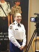 Krystal Graves of Ruidoso poses during a photo shoot after she won a full NROTC scholarship to the college of her choice. Sen. Tom Udall has also nominated her for admission to the U.S. Naval Academy.
