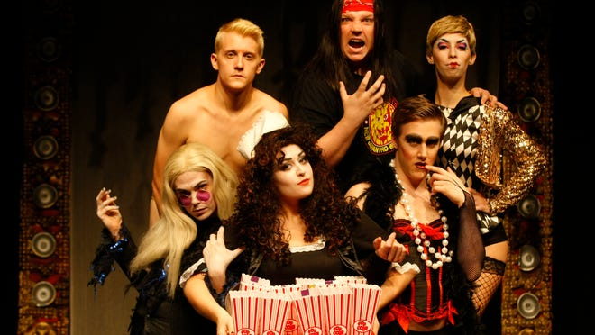 "Ryan Bowie, left, Allie McCaw, Michael Spaziani, Chase Miller, Ryan Leyhue  and Laura Donnelly are ready to do the ""Time Warp"" like you have never done it before at the Roxy Regional Theatre's production of ""The Rocky Horror Show."""