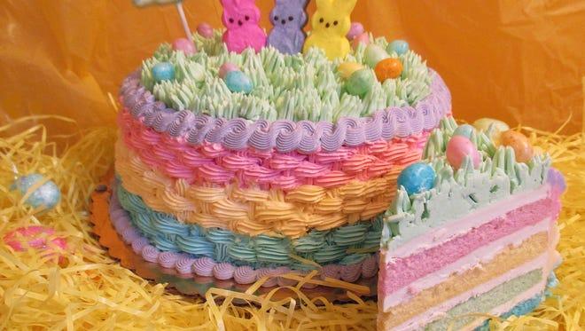 "Goodie-licious Custom Baking's ""Three Peeps"" cake celebrates the iconic Easter treats."