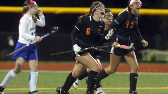 Pawling celebrates a goal against Bronxville during the Section 1 Class C field hockey championship at Pace University in Pleasantville Nov. 1, 2017.