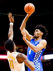 Kentucky forward Nick Richards (4) takes a shot past Tennessee forward Kyle Alexander (11) during a game at Thompson-Boling Arena on Jan. 6, 2018. Richards was one of nine Caribbean players on teams in the 2019 NCAA tournament.
