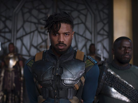 "Erik Killmonger (Michael B. Jordan, left, with Daniel Kaluuya) arises as a formidable enemy to Wakanda's ruler in ""Black Panther."""