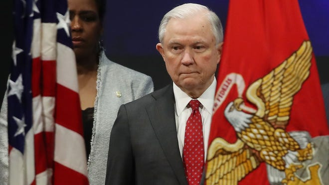 Attorney General Jeff Sessions participates in a Drug Enforcement Agency (DEA), Graduation Ceremony for new Special Agents, on Jan. 26, 2018 in Quantico, Virginia.  (Photo by Mark Wilson/Getty Images)
