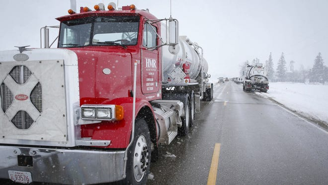 Crews work to clean up after a pipeline leak in Worth County, Iowa, on Wednesday, Jan. 25, 2017. According to the Worth County Sheriff's Office, tens of thousands of gallons gallons of diesel fuel has leaked near a farm north of Hanlontown, near the Minnesota border.
