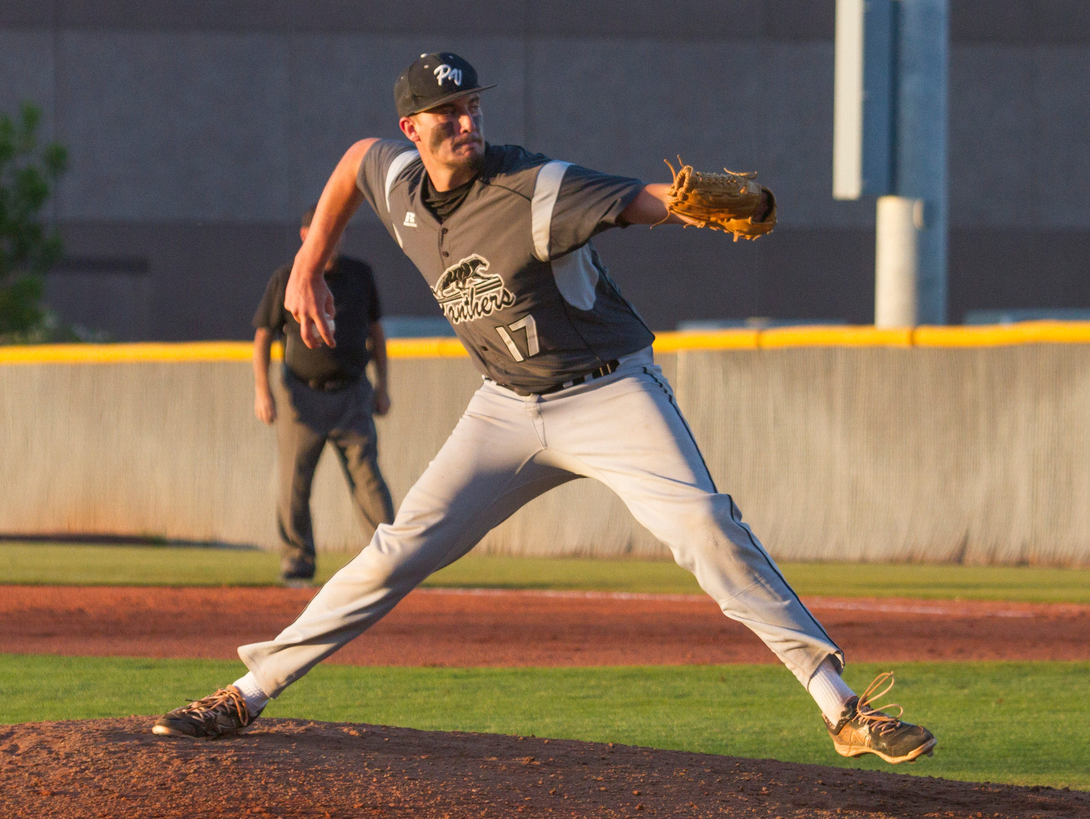 Pine View's Dakota Donovan pitches during Tuesday's 10-inning game between Desert Hills and Pine View. The Panthers went on to win 3-1.
