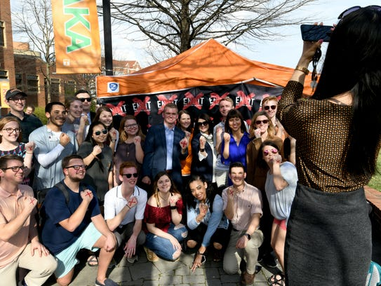 UT Chancellor Beverly Davenport poses with students