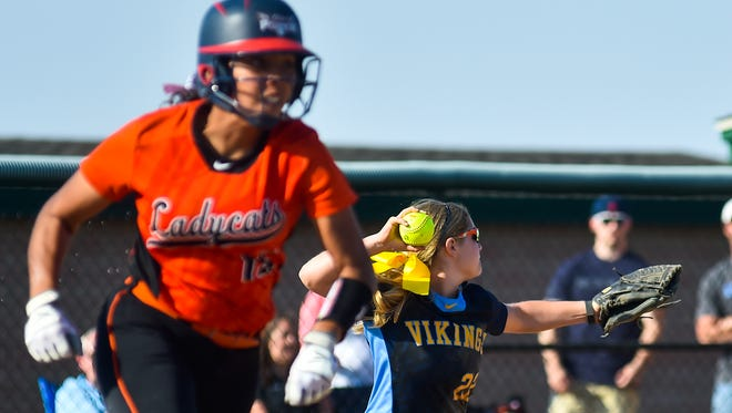 River Valley's Claire Nicholson fields the ball, while North Union's Maddux Hughes runs the bases in a game earlier this season. Both the Vikings and Wildcats will be playing for district championships this weekend.