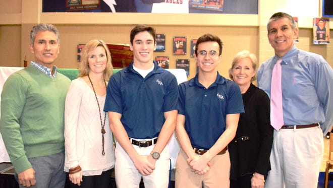 Pictured from left are Richard Carrasco, Maureen Carrasco and Ricky Carrasco, St. Benedict salutatorian, Ray Wynne, St. Benedict valedictorian, Rosemary Wynne and Ray Wynne.