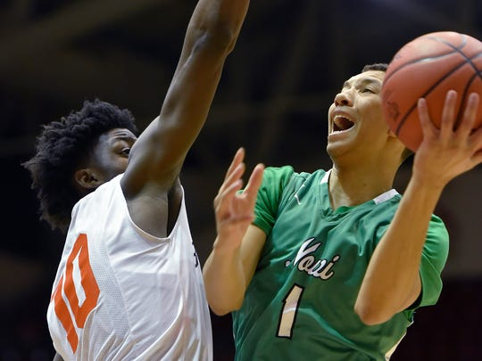Novi Wildcat Trendon Hankerson (1) looks for the shot that Belleville Tiger Gabe Brown (10) tries to block.