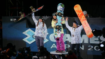 Danny Davis reacts after winning gold in the superpipe finals at the 18th edition of the Winter X Games in Aspen, Colo. on, Jan. 26, 2014.