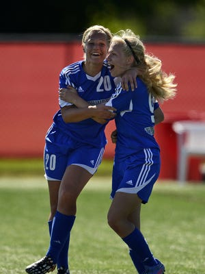 Seniors Emily Burg (20) and Sarah Klemp (9), shown at last year's WIAA state girls soccer tournament, have helped Green Bay Southwest get off to a 6-0 start this season. Burg scored a goal in Saturday's 7-0 victory over Sparta.