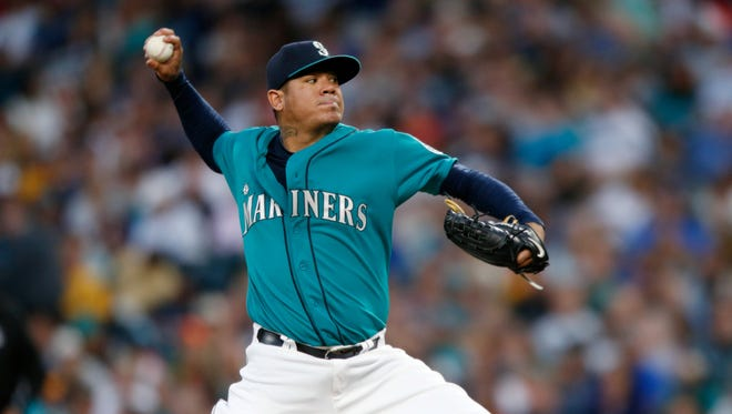 Seattle Mariners starting pitcher Felix Hernandez in action against the Chicago White Sox during a baseball game on Friday, Aug. 21, 2015, in Seattle.
