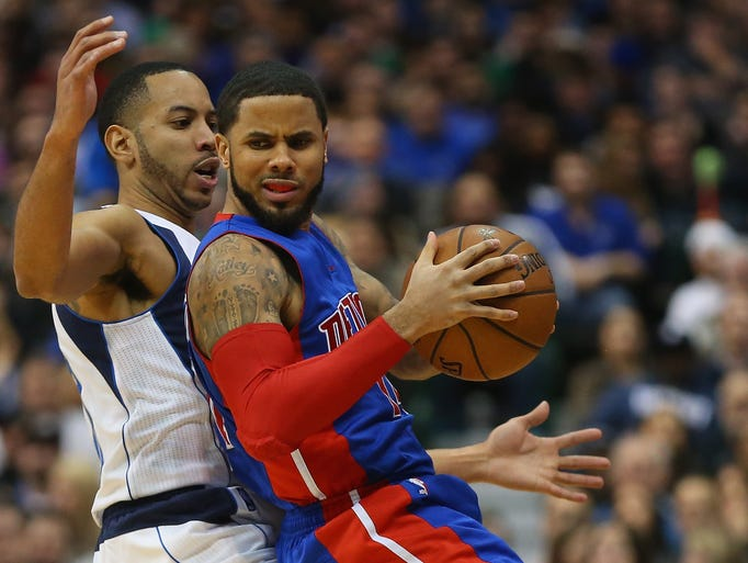 Detroit Pistons'  D.J. Augustin  dribbles the ball