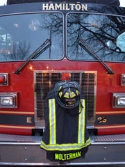 Services are conducted for fallen Hamilton firefighter Patrick Wolterman in 2015.