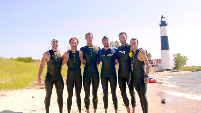 The Epic Swim 2020 team, from left, Todd Suttor, Jon Ornée, Jeremy Sall, Nick Hobson, Dave Ornée and Matt Smith.