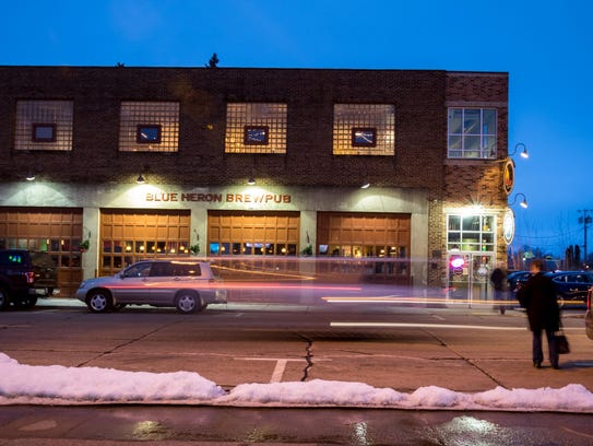 An exterior shot of the Blue Heron BrewPub, located