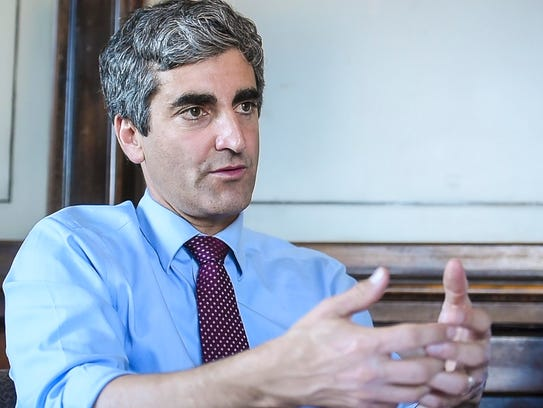 Burlington Mayor Miro Weinberger discusses staffing of the city's fire department ambulances on Wednesday, June 7, 2017. The city was able to expand firefighting staff for the first time in 15 years after analyzing overtime data as part of the city's monthly data-sharing meetings, Weinberger said on Oct. 31, 2017.