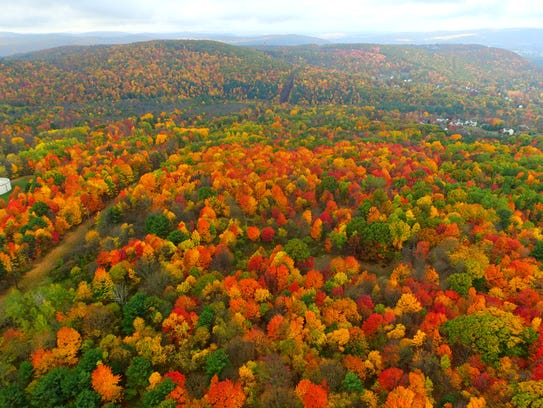 A photo from drone footage shows the spectacular fall