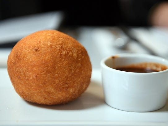 A papa rellena, which is mashed potatoes stuffed with